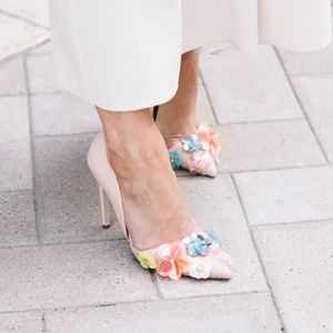 Miss KG sequin flower light pink heels